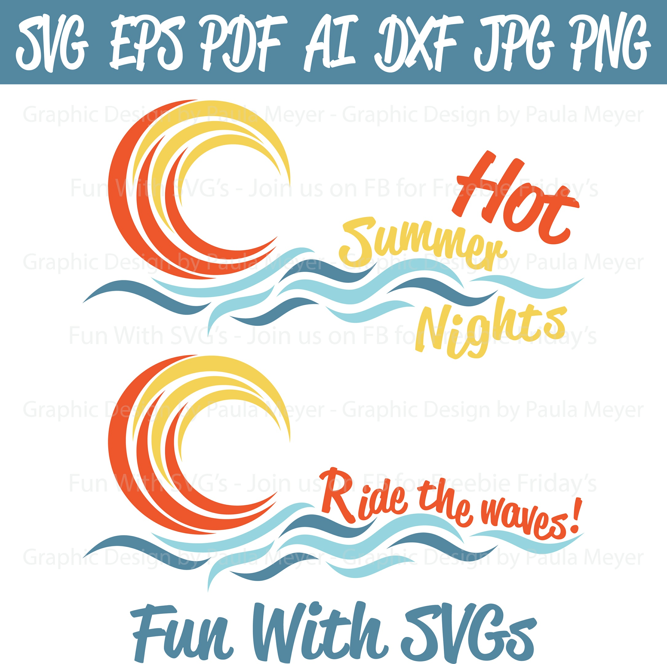 Summer Sun - SVG Cut File, High Resolution Printable Graphics and Editable Vector Art