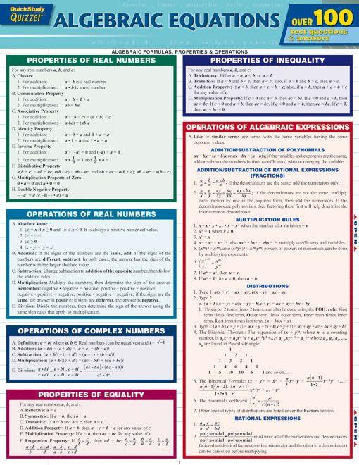 Algebraic Equations Quizzer