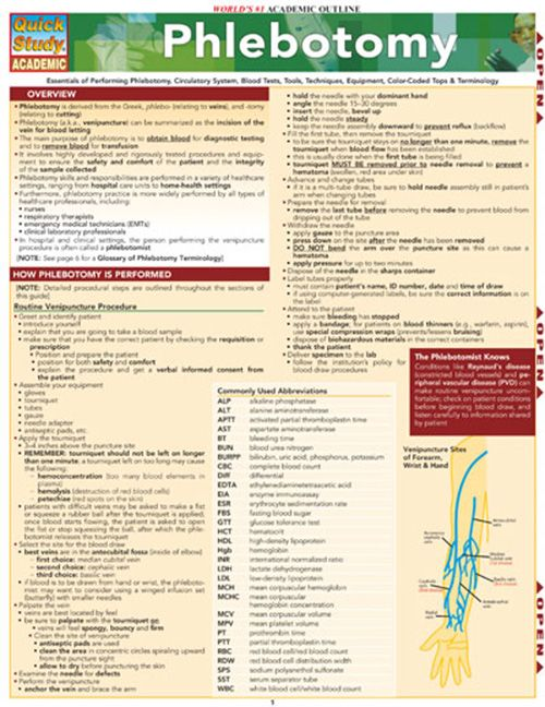 phlebotomy study guide Get everything you need for phlebotomy success in our study guide take advantage of practice tests, and helpful study techniques to achieve your goal of passing your phlebotomy exam.