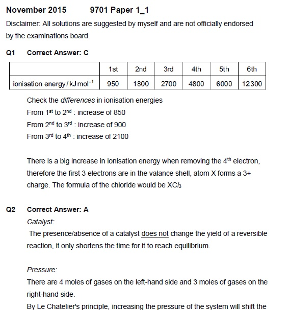 CIE 9701 Chemistry Paper 1 Solutions November 2016 (FREE SAMPLE)