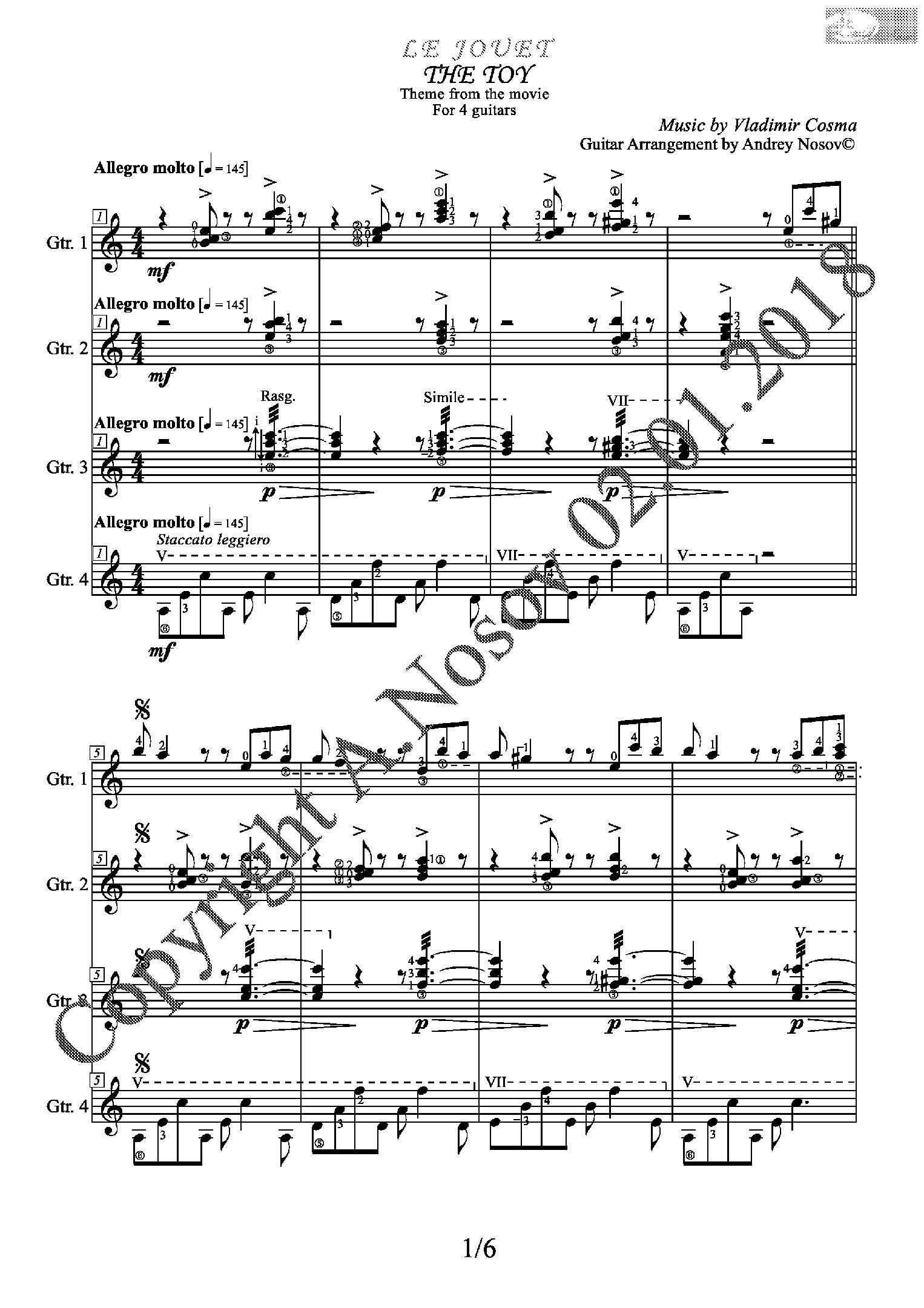 Le Jouet (V.Cosma) Sheet Music for a 4-guitar ensemble