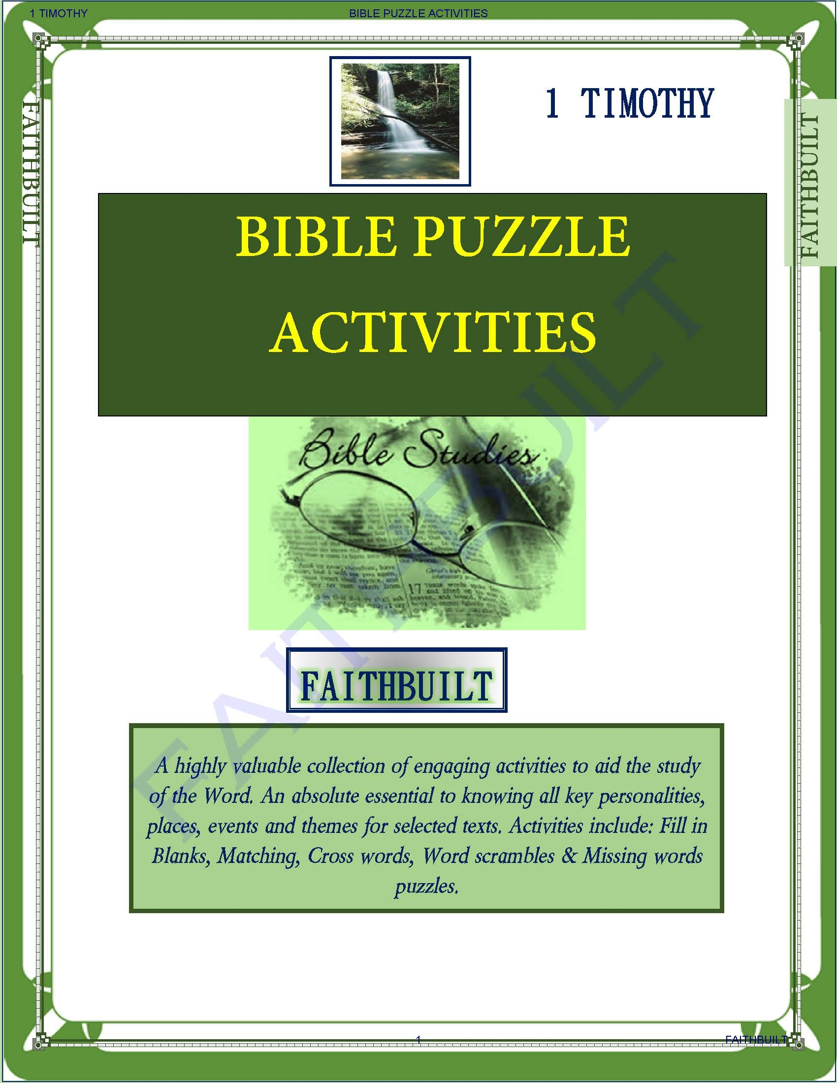 I TIMOTHY : BIBLE PUZZLES & ACTIVITIES