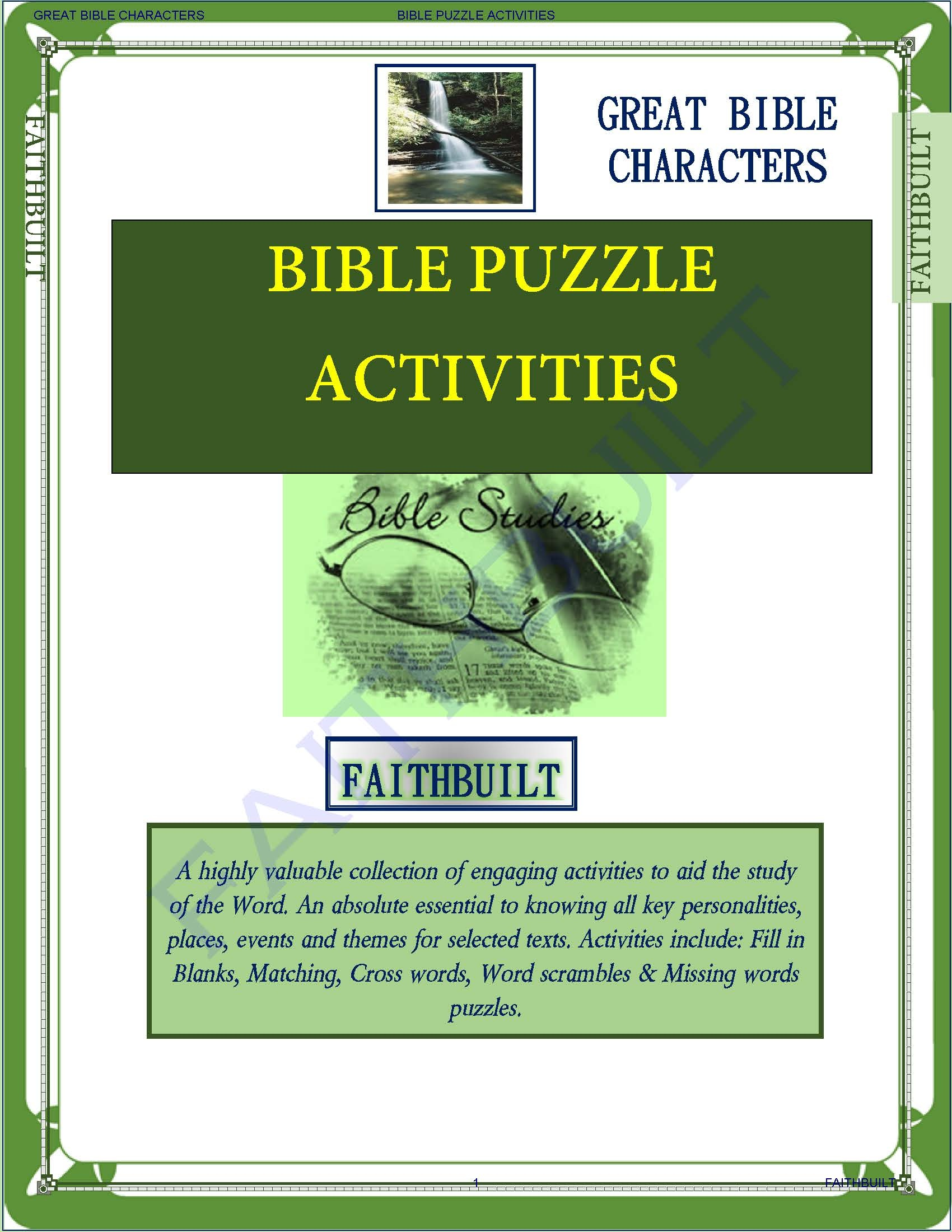 GREAT BIBLE CHARACTERS : BIBLE PUZZLE ACTIVITIES