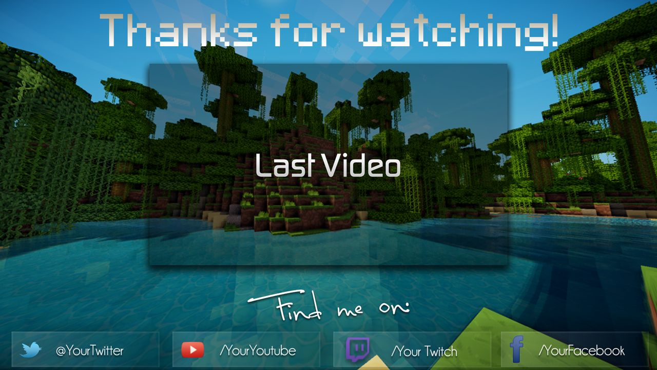 minecraft outro template movie maker - minecraft combo pack banner and endcard