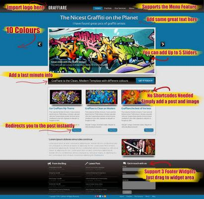 Graffiare - Premium WP Theme - 10 Colors - Video Tutorials - with Master Resell Rights!