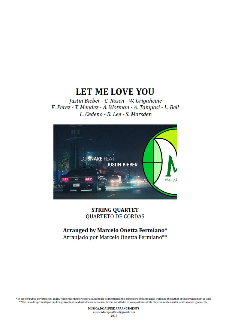 Let Me Love You | Justin Bieber | String Quartet | Score and Parts Download