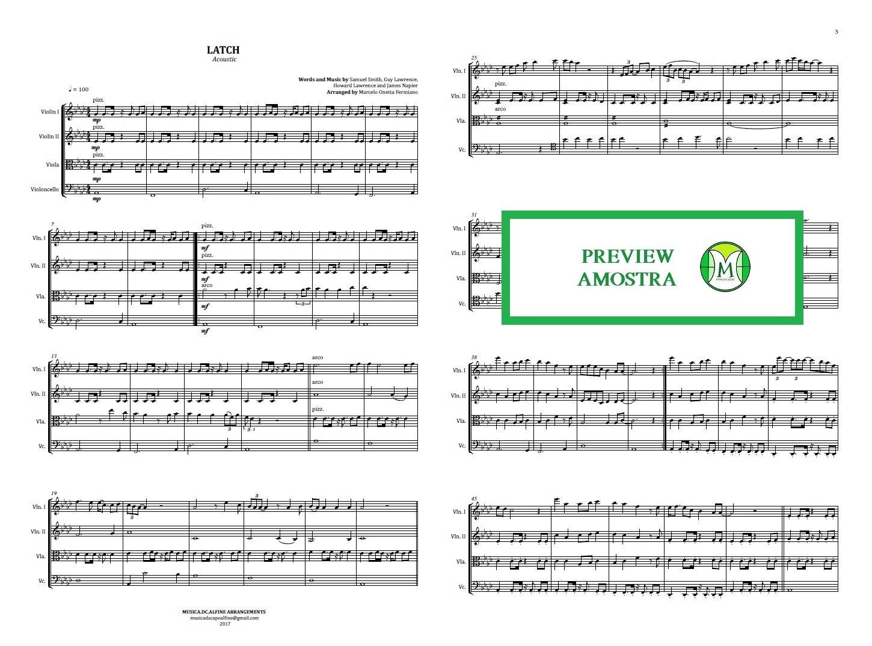 Latch | Acoustic | Sam Smith | String Quartet | Score and Parts  Download
