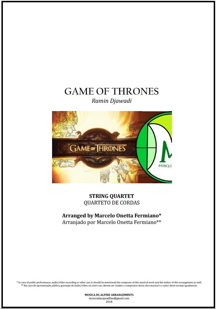 Game Of Thrones | Ramin Djawadi | Quarteto de Cordas | Partitura Completa