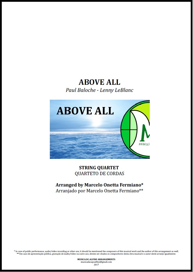 Above All | Michael W. Smith | String Quartet | Score and Parts Download