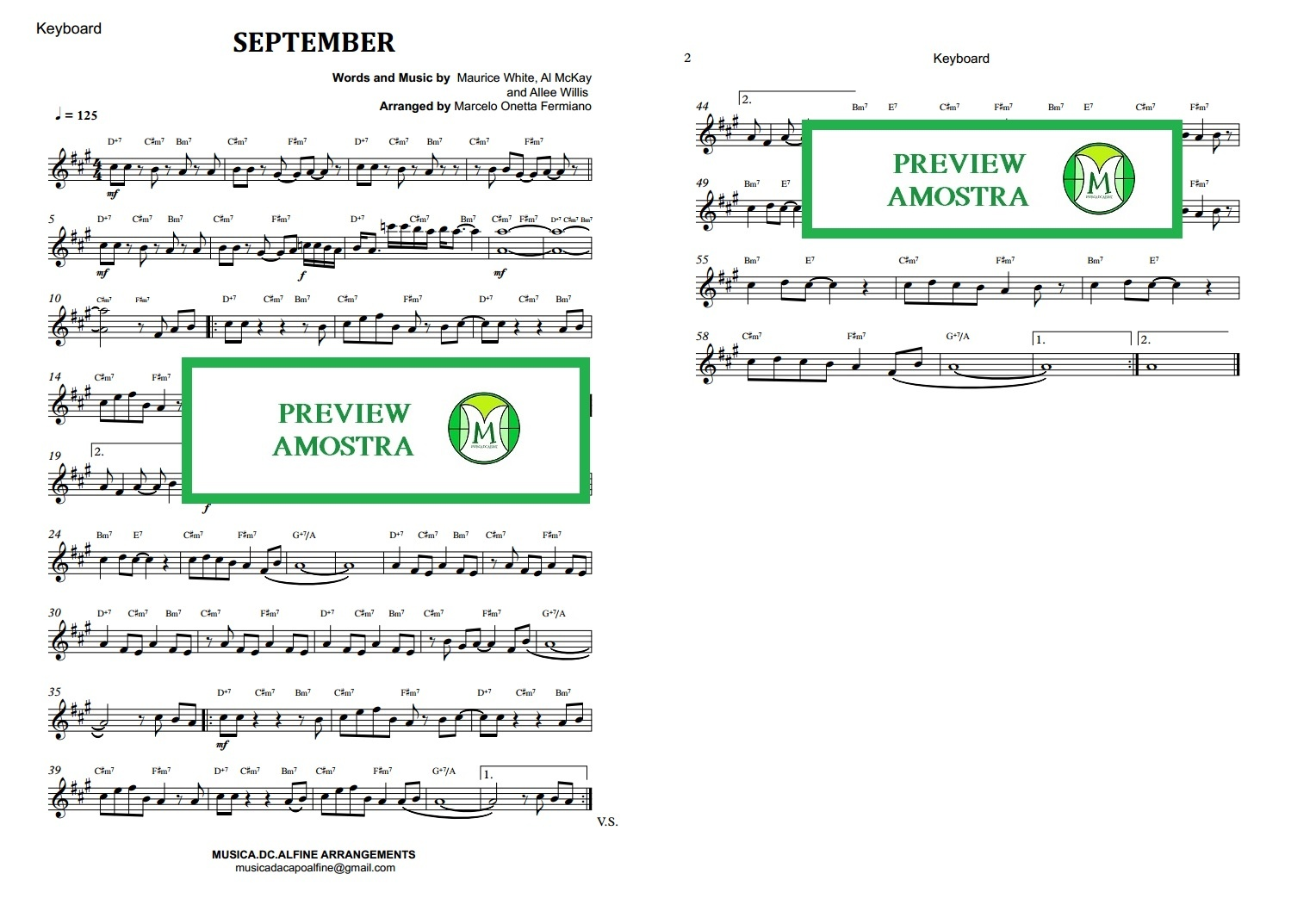 September - Earth, Wind & Fire -  Keyboard or Violin Sheet Music
