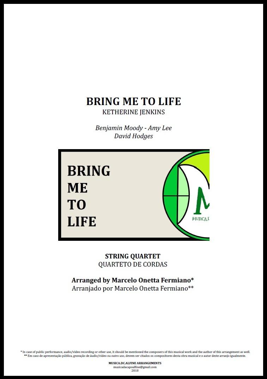 Bring Me To Life | Katherine Jenkins | Quarteto de Cordas | Partitura Completa
