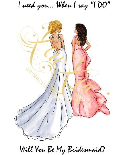 LBLSU-LBRS - BRIDESMAID CARD BLONDE BRIDE - BRUNETTE BRIDESMAID