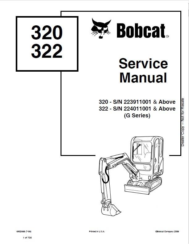 Bobcat 320G, 322G Excavator Service Repair Manual PDF