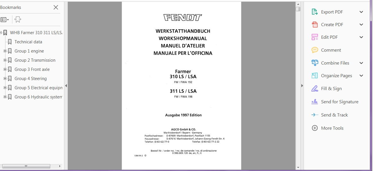FENDT FARMER 310 311 LS LSA TRACTOR WORKSHOP SERVICE MANUAL PDF