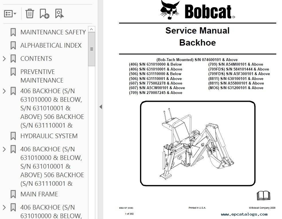 Bobcat 406 to 709, 8811, MO6 Backhoe Attachment Service Repair Manual PDF