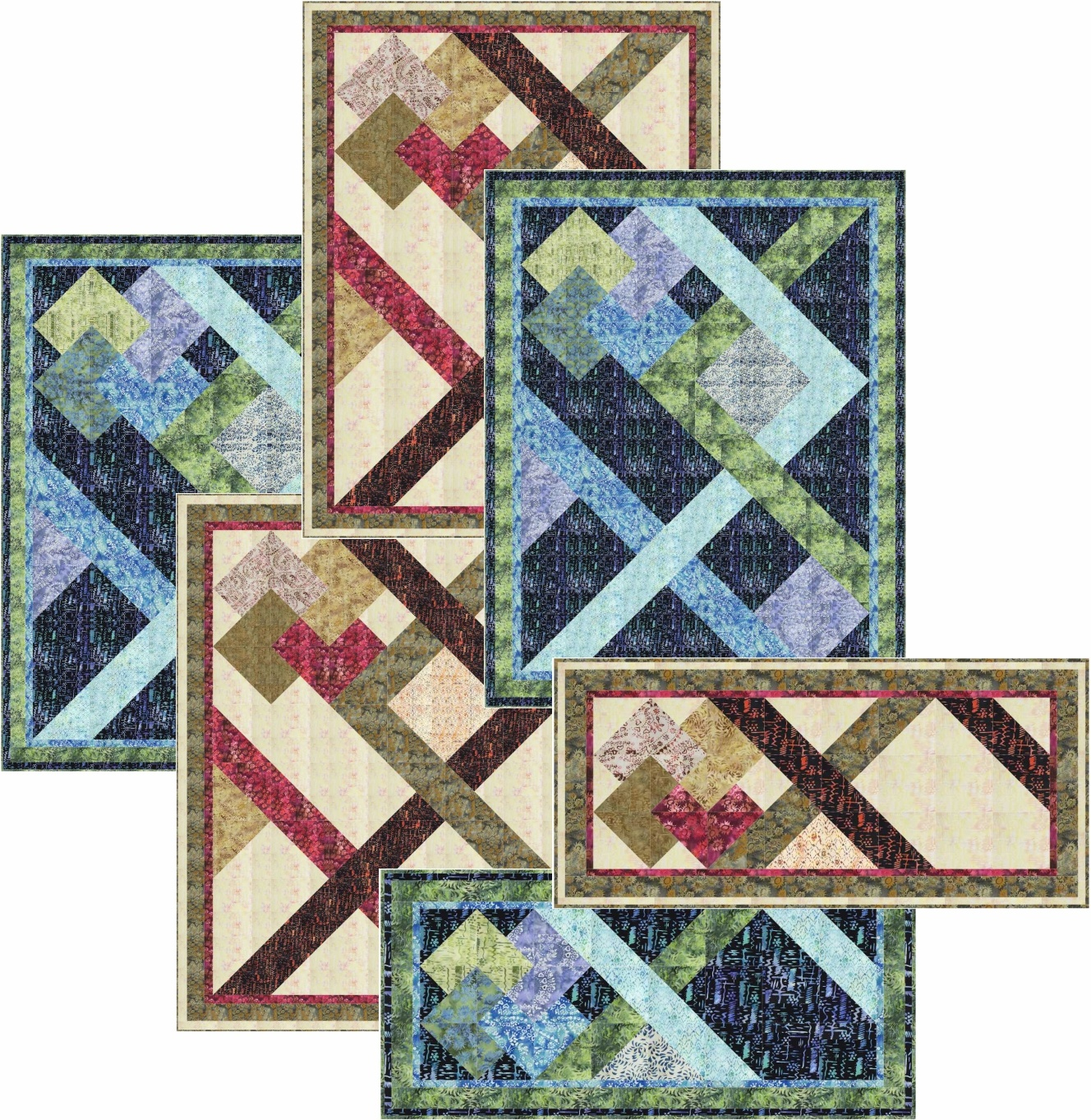 The Maze: Lap Quilt, Bed Quilt and Runner in 2 Colors