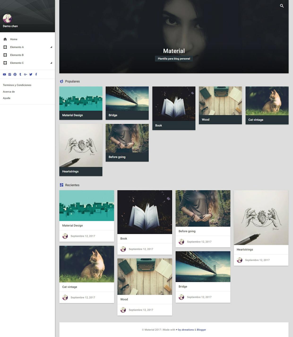 Material.xml v2.0.0 – plantilla material design responsive, blogger