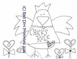 #1 Chicks Rule All line/stitcherys drawing ePattern