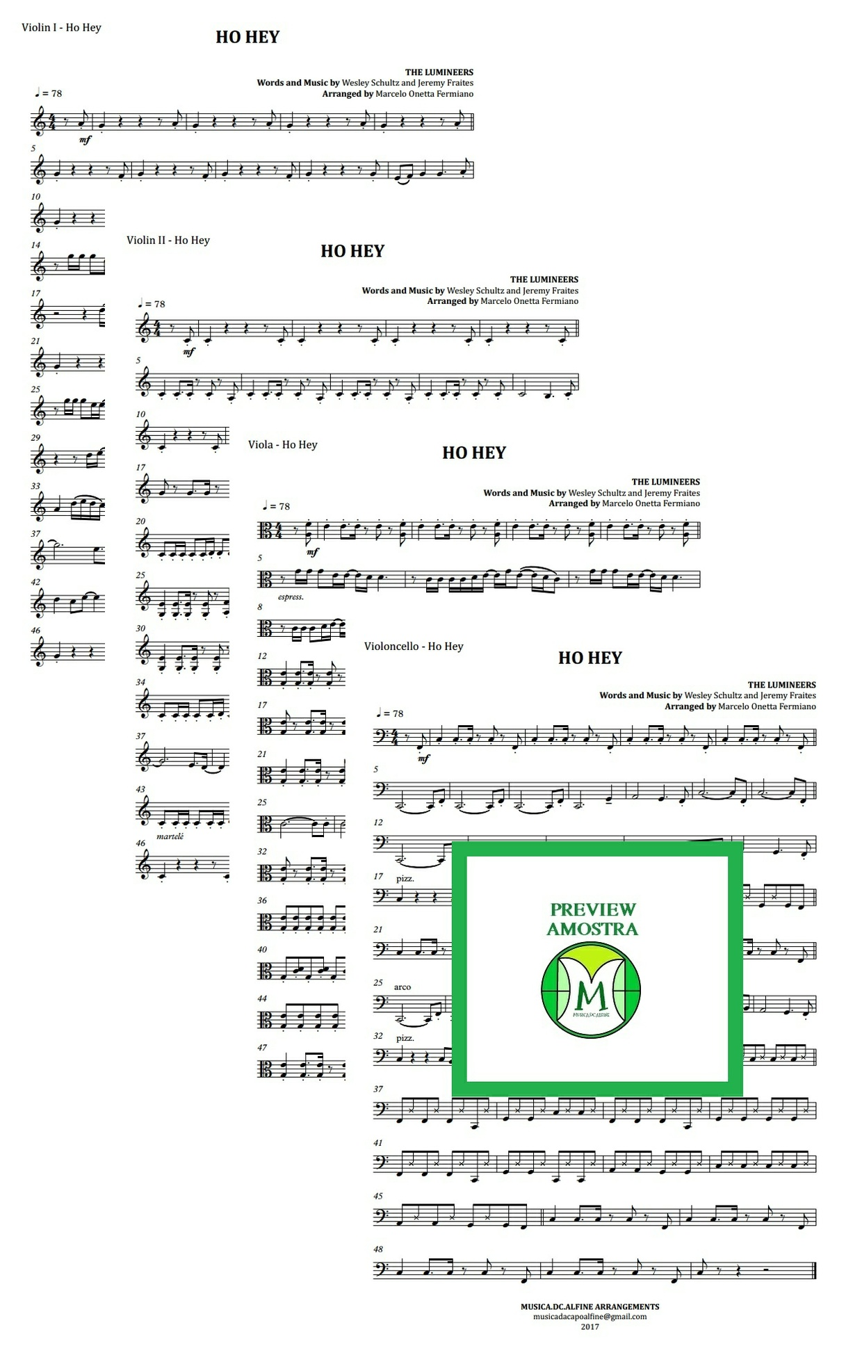 Ho Hey | The Lumineers | Quarteto de Cordas | Partitura Completa Download