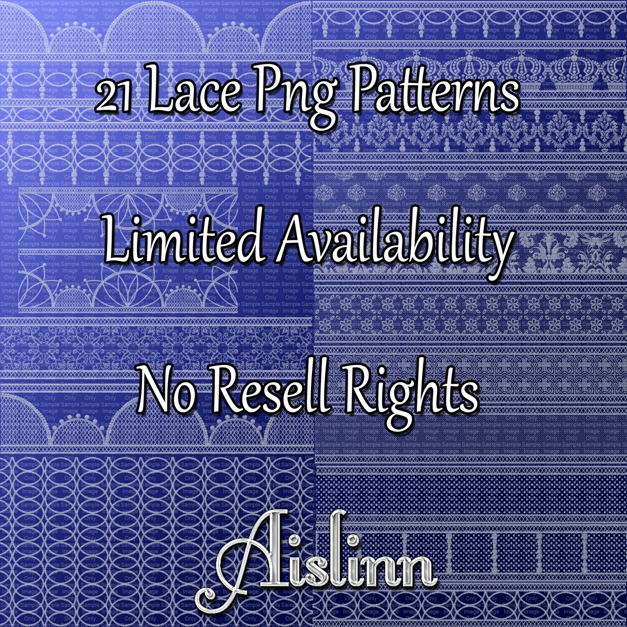 21 Lace PNG Patterns ON SALE!
