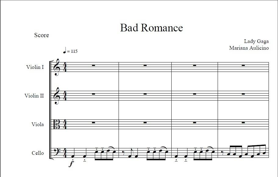 Bad Romance - Lady Gaga - String Quartet