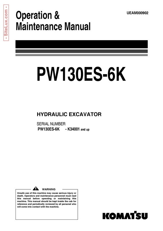 Komatsu PW130ES-6K Hydraulic Excavator (K34001 and up) OM Manual - UEAM000902