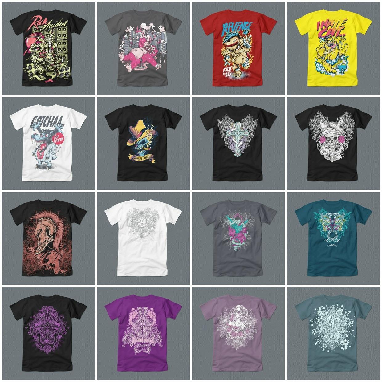 72 Editable Graphic T-Shirt Designs