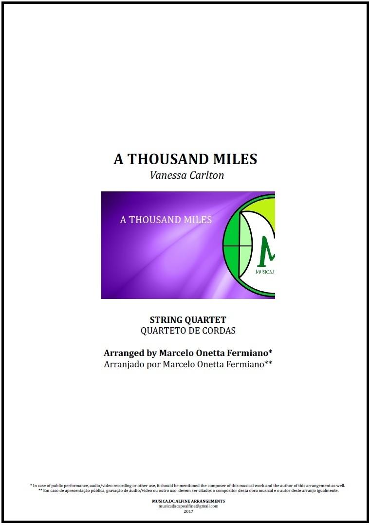 A Thousand Miles   Vanessa Carlton   String Quartet   Score and Parts Download