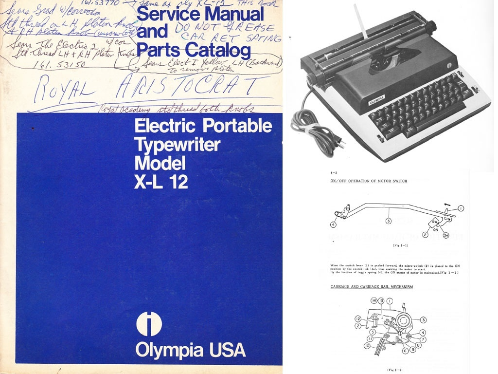 Olympia XL-12 Electric Portable Typewriter Service Repair Adjustment Manual