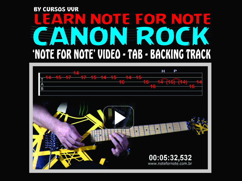 CANON ROCK 2017 - NOTE FOR NOTE WITH TAB AND BACKING TRACK
