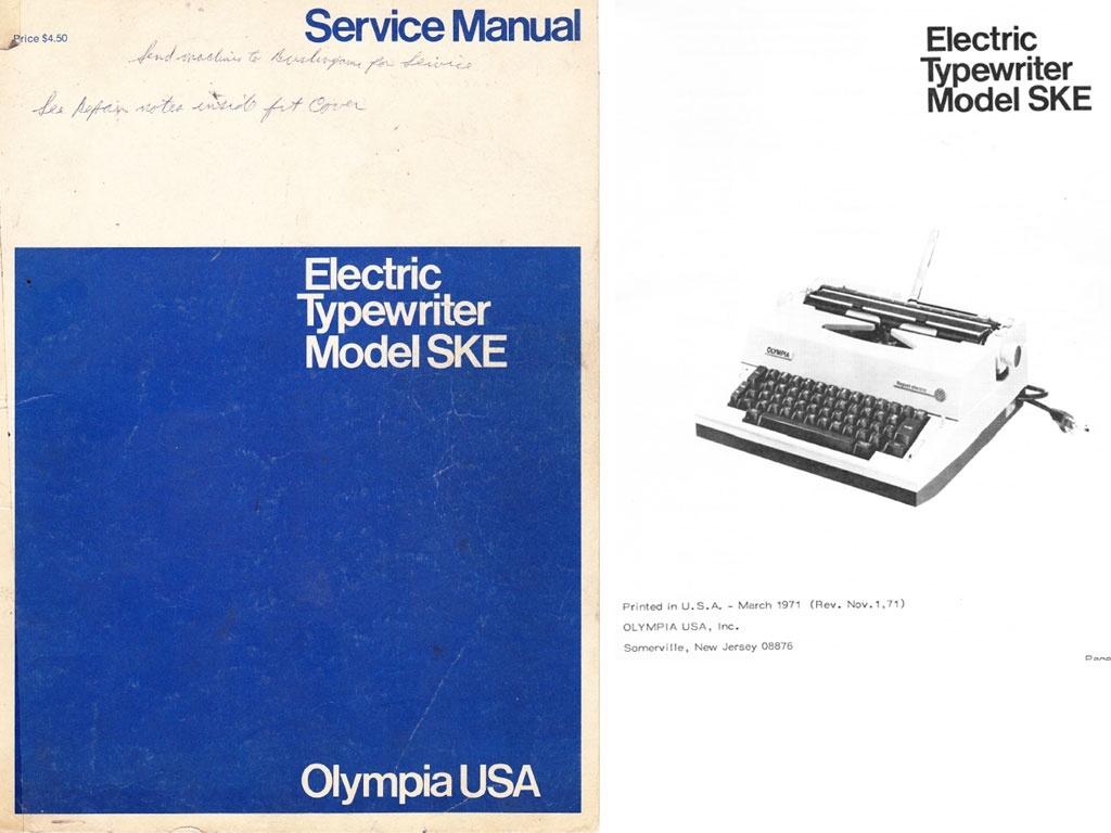 Olympia SKE Electric Portable Typewriter Service Repair Adjustment Manual