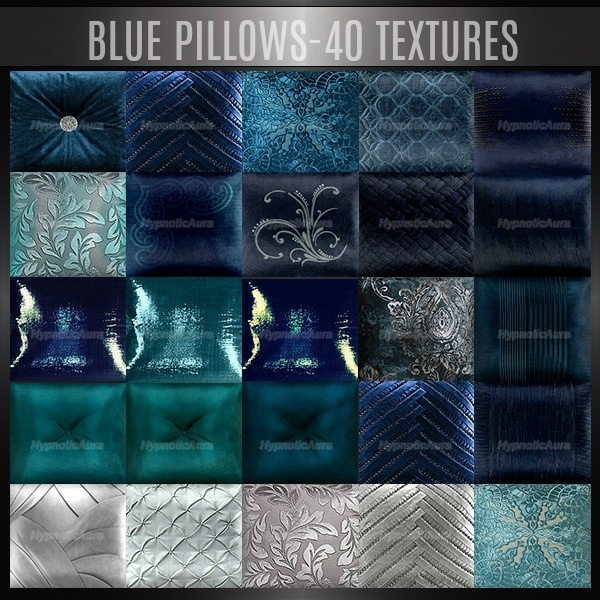 A~BLUE PILLOWS-40 TEXTURES