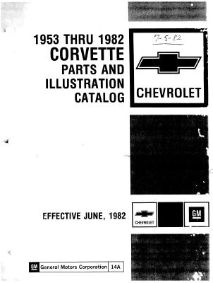 1953-1982 CORVETTE PARTS AND ILLUSTRATION CATALOGUE