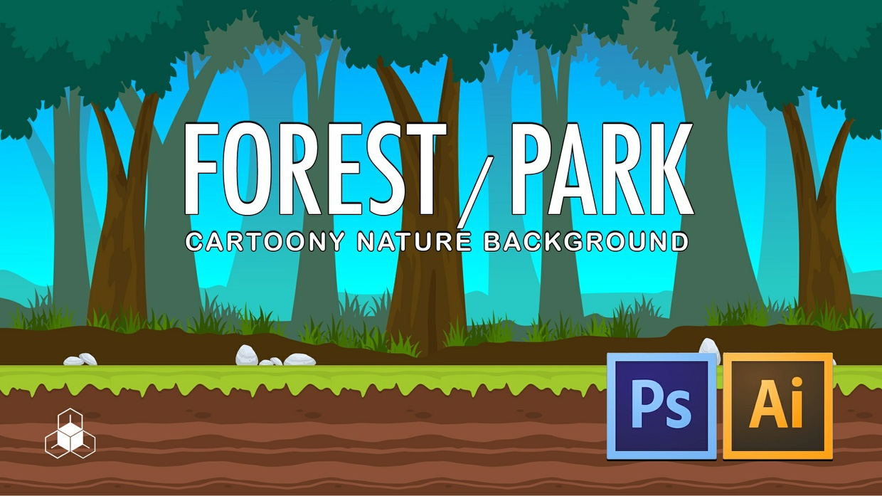 2D FOREST, PARK - Cartoony Parallax Nature Background