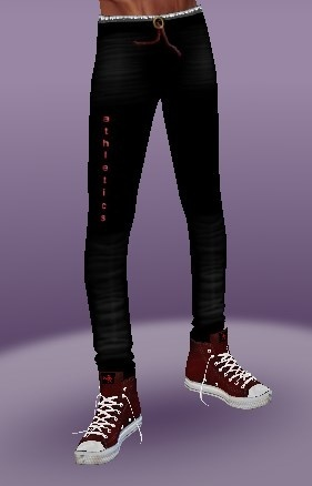 Sports pants and two pairs of sports shoes in two colors textures