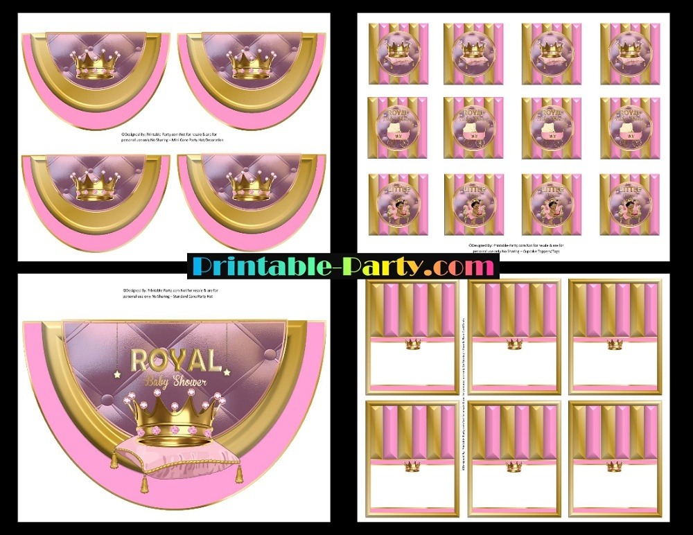 Printable African American Royal Princess Baby Shower Supplies Pink Gold