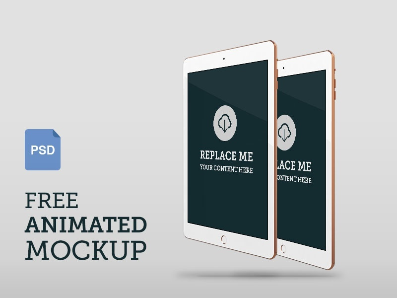 Free Animated iPad Air 2 Photoshop (psd) Mockup – Front Perspective