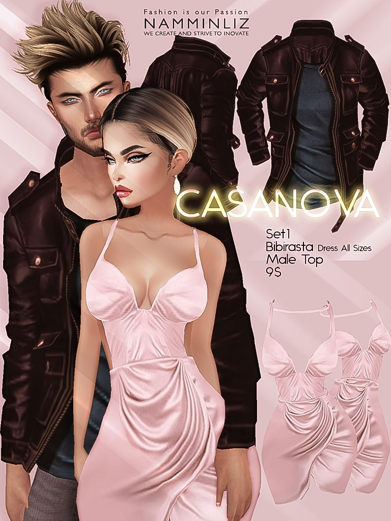 CASANOVA Full set ( 4 Bibirasta Dresses + 4 Male Tops ) JPGTexture imvu