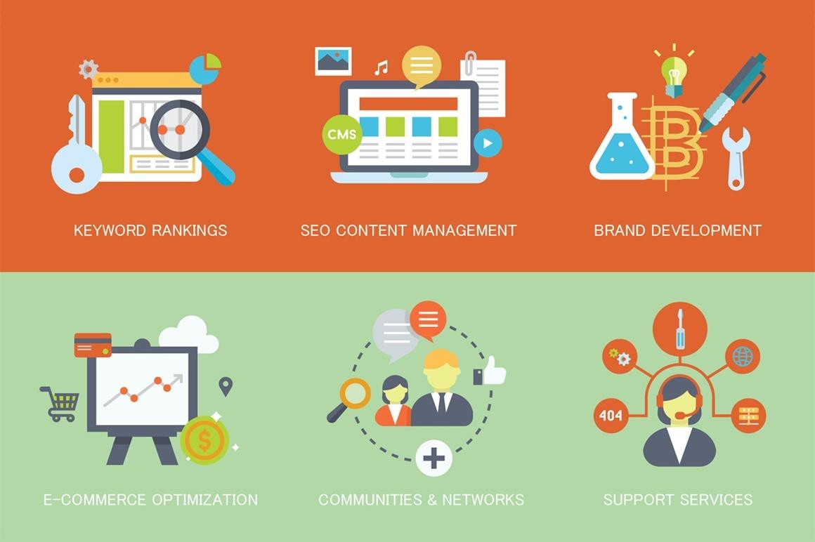 24 Flat SEO & Internet Marketing Concepts