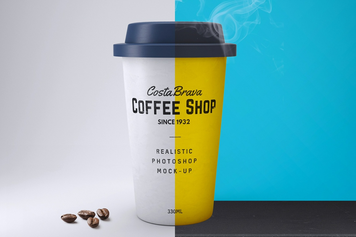 Realistic Paper Coffee Cup Mock-Up