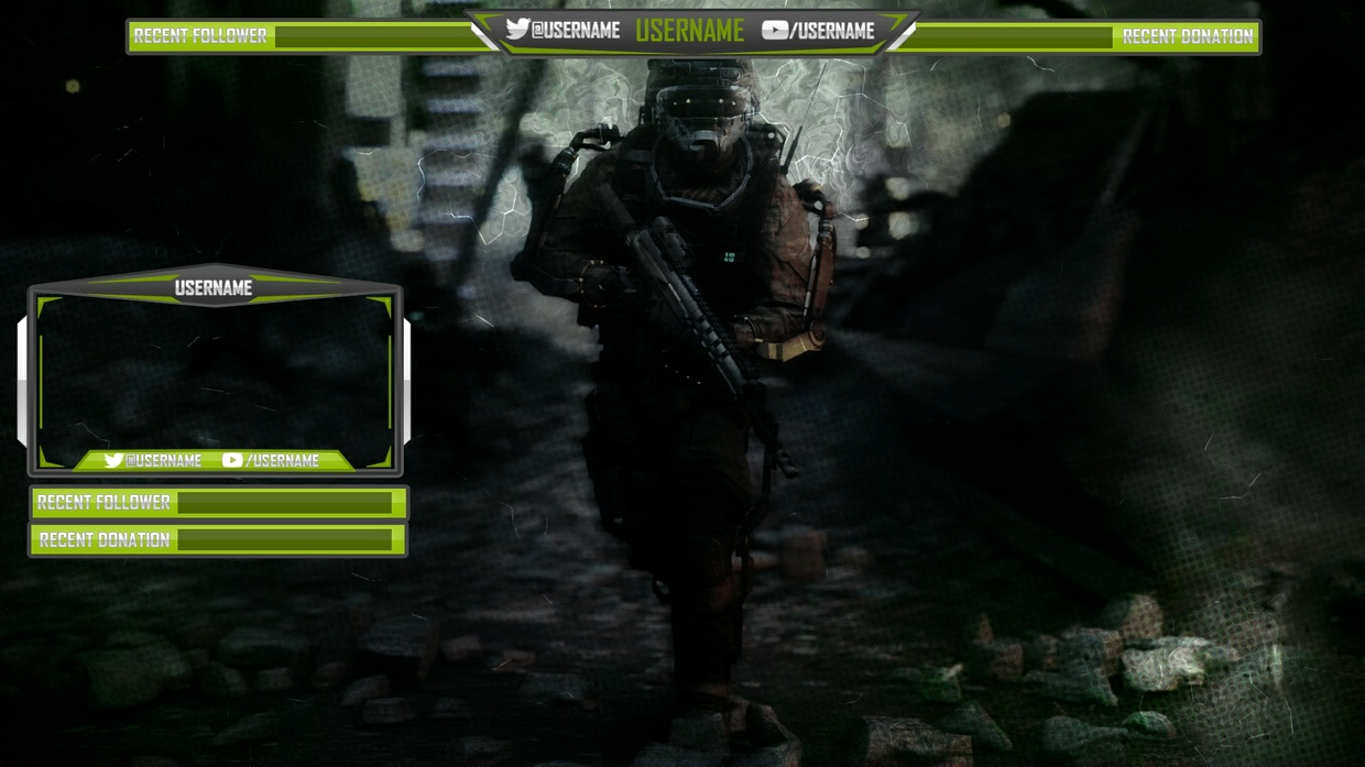 Color changeable Twitch, Youtube or Hitbox overlay template (Simple and Clean)