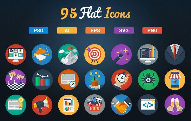 95 flat icons