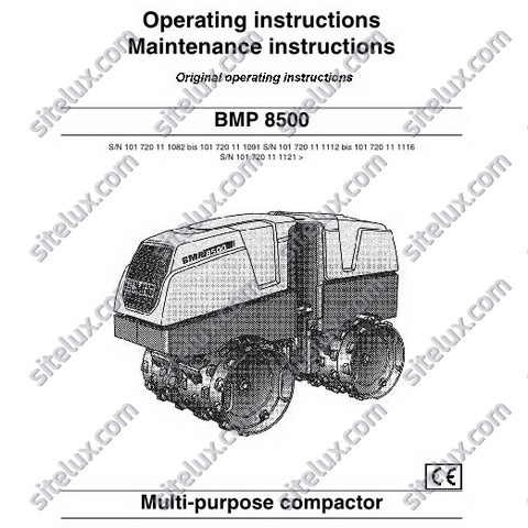 Bomag BMP 8500 Multi-purpose compactor Operating & Maintenance instructions