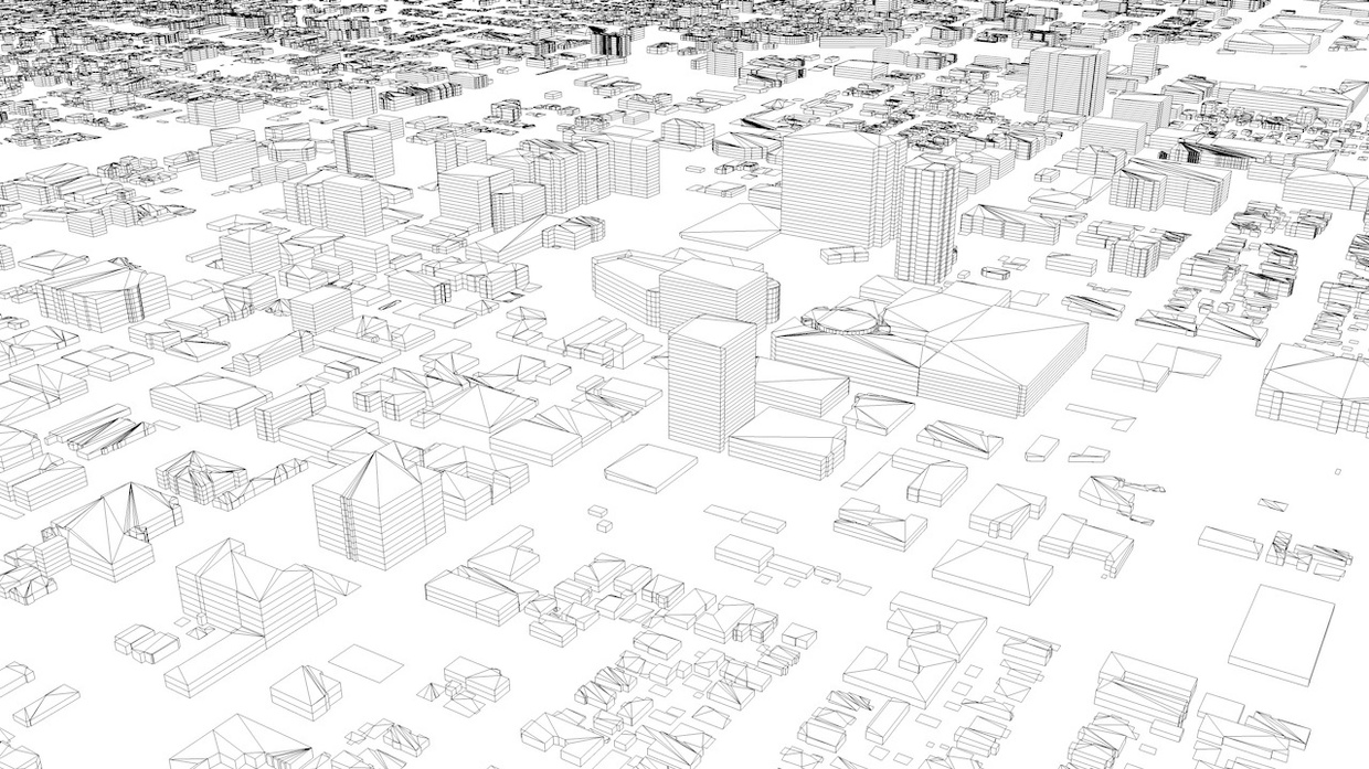 Hollywood in LA Streets and Buildings Architectural 3D Model