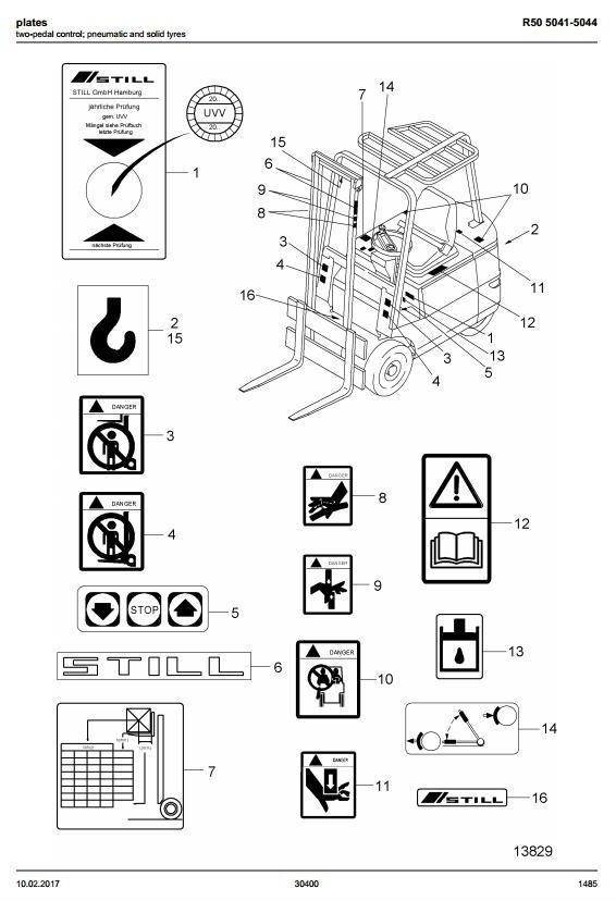 Still Electric Lift Truck R50-10, R50-12, R50-15: 5041, 5042, 5043, 5044 Spare Parts Manual