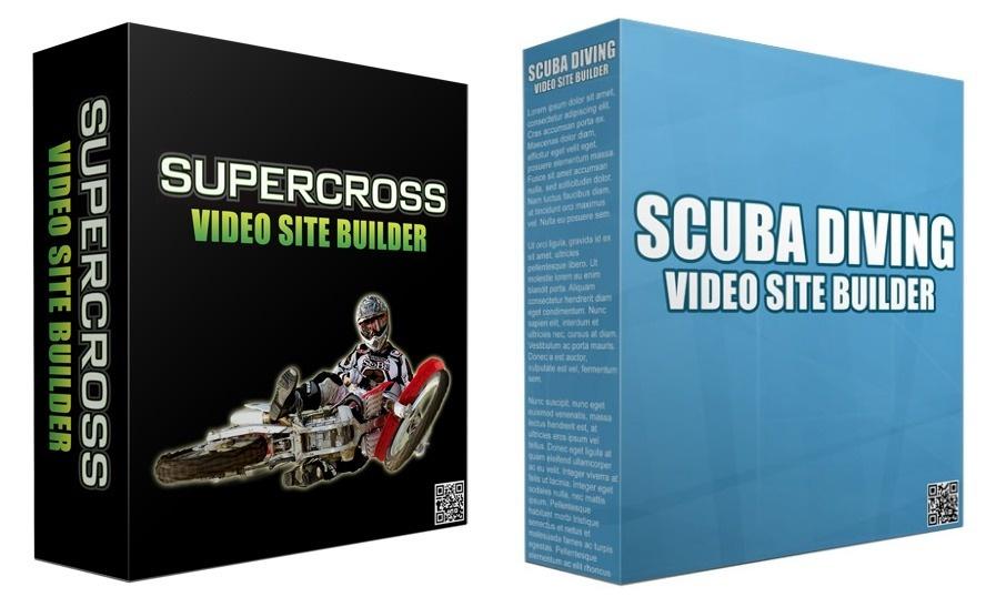 2 Video Site Builders:  Scuba Diving Video Site Builder and Supercross Video Site Builder