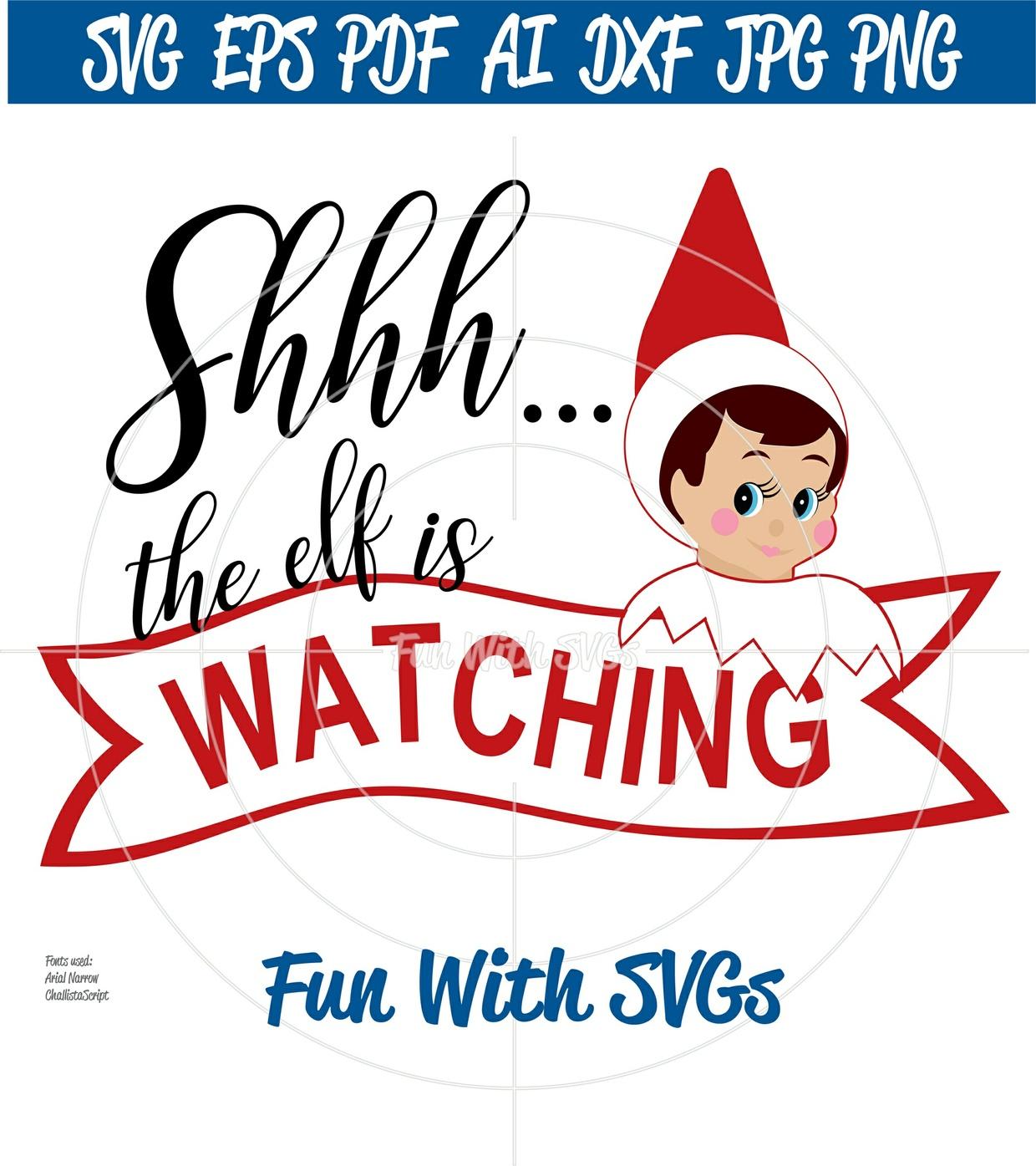 The Elf Is Watching, Christmas Elf SVGs, Elves SVG, Elves Ornaments, Elves Shirt, Christmas Decor