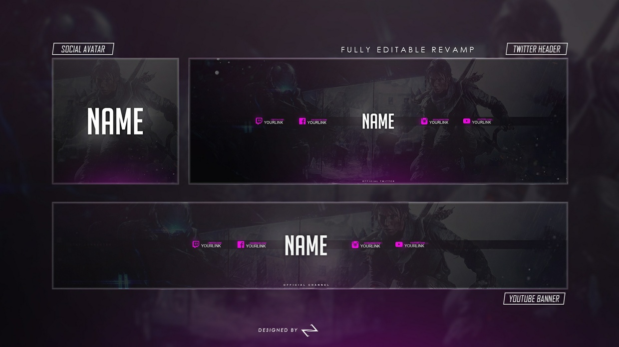Free GFX Free Gaming Youtube, Twitter & Avatar Revamp/Rebrand Template by LastZAK