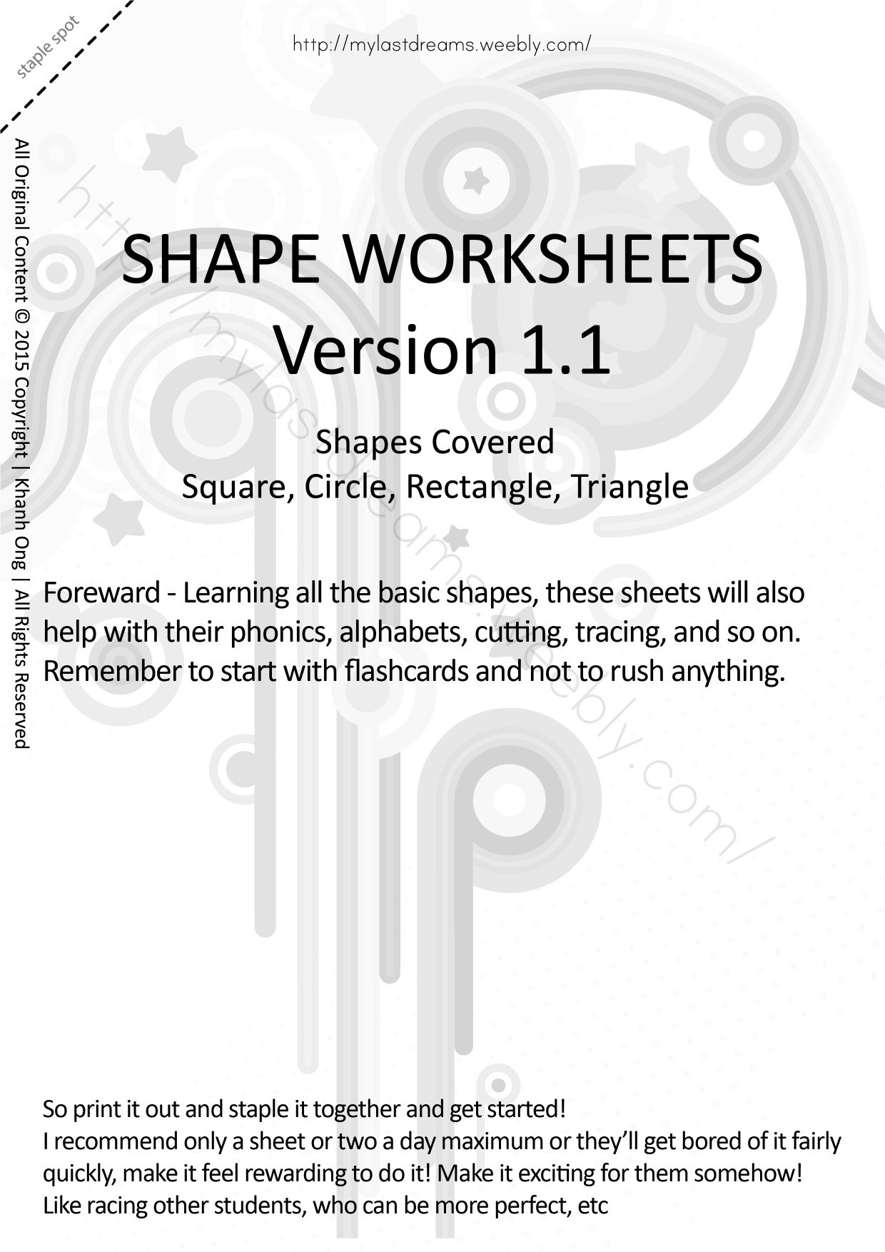 MLD - Basic Shapes Worksheets - Part 1 - A4 Sized