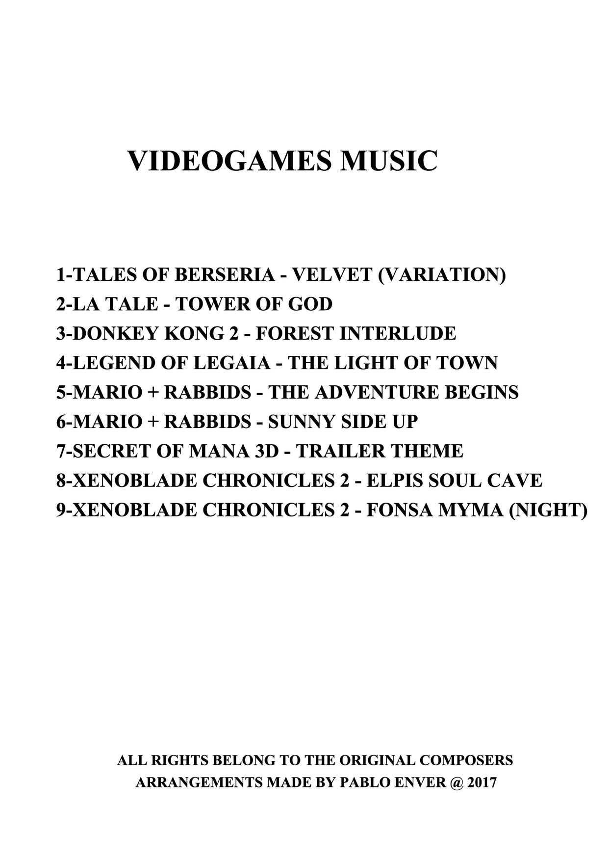 VIDEOGAMES MUSIC 2017